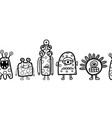 cute monsters coloring border seamless vector image