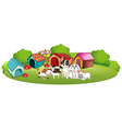 Dogs outside their houses vector image vector image