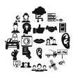 earphones icons set simple style vector image vector image
