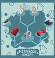 fitness color isometric concept icons vector image vector image