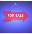 for sale bright arrow hanging on wall vector image