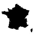 france - solid black silhouette map of country vector image