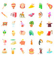funny carnival icons set cartoon style vector image vector image