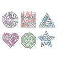 game maze labyrinth collections various shapes vector image