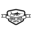 great catch emblem template with marlin design vector image vector image