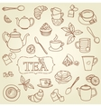 Hand drawn tea doodle concept vector image vector image