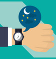 hand with wrist watch time night vector image vector image