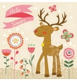 Hello spring card with deer vector image