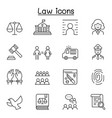 law justice icon set in thin line style vector image