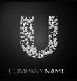 letter u logo silver dots alphabet logotype vector image vector image