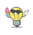 light bulb character cartoon with ice cream vector image vector image