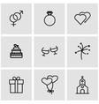 line wedding icon set vector image vector image
