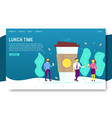 lunch time landing page website template vector image vector image