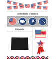 map of colorado set of flat design icons vector image vector image