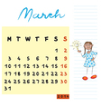 march 2014 kids calendar vector image vector image