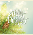 merry christmas white hand drawn lettering on vector image vector image