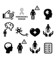 Parkinsons disease seniors health icons set vector image vector image