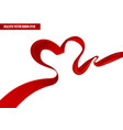 realistic red ribbon in a heart position vector image vector image