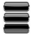 rectangle black buttons with bold chrome frame 3d