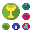 religion and belief flat icons in set collection