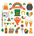 saint patrick day icon set in flat vector image vector image