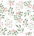seamless pattern with forest berries green plant vector image
