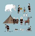set of arctic people and animals flat style vector image vector image