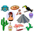 set of cartoon icons depicting mexico vector image vector image