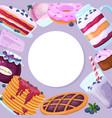 set sweet blueberry dessert icon round banner vector image vector image
