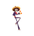 skeleton in mexican national costume dancing and vector image vector image