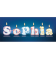 SOPHIA written with burning candles vector image vector image