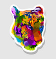 sticker colorful tiger face vector image vector image