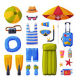 summer vacation objects collection suitcase vector image vector image