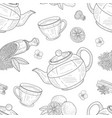 tea elements seamless pattern cafe restaurant vector image