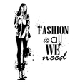 trendy look girl with splashes vector image vector image