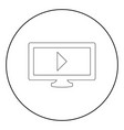 tv with mark playing video the black color icon vector image vector image