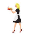 waitress with fast food vector image vector image