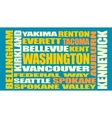 Washington state cities list vector image vector image