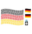 waving germany flag pattern of death skull tag vector image