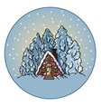 winter forest snowing scene in a circle ball vector image