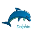 Cute cartoon dolphin character vector image