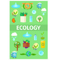 ecology poster with cartoon recycling icons set vector image