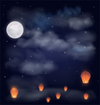 Night sky with the moon stars and chinese wish la vector image