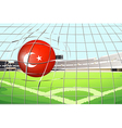 A soccer ball with the flag of Turkey vector image