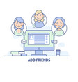 add friends social network social media icon in vector image vector image