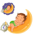 baby in a diaper is sleeping on the moon vector image
