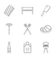 bbq party icons set outline style vector image vector image