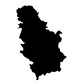 black silhouette country borders map of serbia on vector image vector image