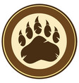 brown bear paw print circle label design vector image vector image
