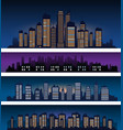 city skyline silhouette at night vector image vector image